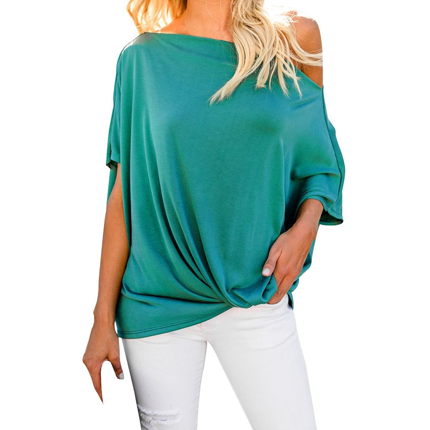 EKIMI Tops Women Off Shoulder Loose Pullover Sweater Batwing Sleeve Knit Jumper Top Blouse