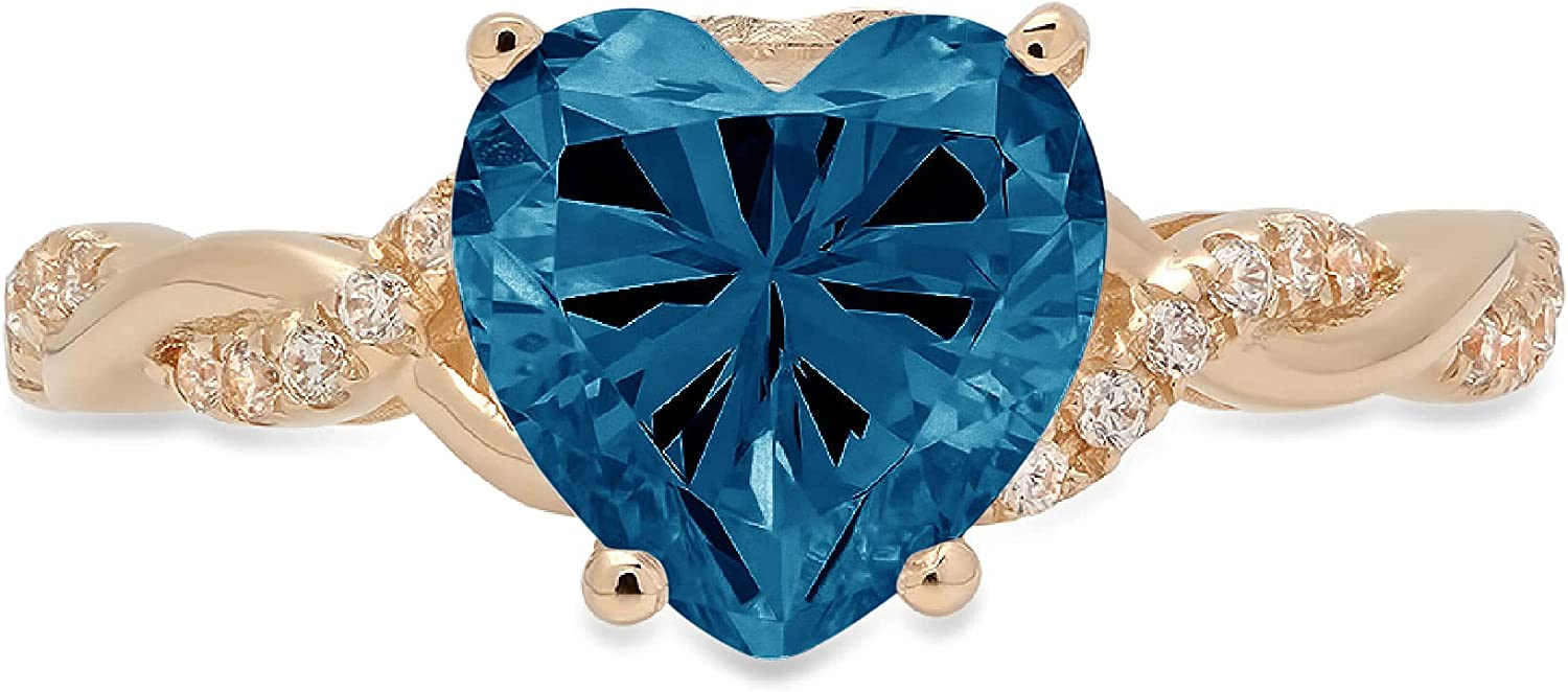 2.19ct Heart Cut Criss Cross Twisted Solitaire Accent Halo Genuine Flawless Natural London Blue Topaz Gemstone Engagement Promise Anniversary Bridal Wedding Ring Solid 18K Yellow Gold