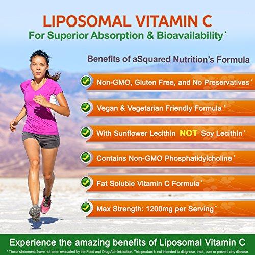 Liposomal Vitamin C - 1200mg Supplement - 180 Capsules - High Absorption VIT C Ascorbic Acid Pills - Supports Immune System & Collagen Health - Non-GMO - 90 Servings