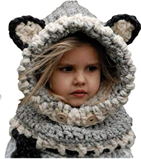 Winter Kids Warm Fox Animal Hats Knitted Coif Hood Scarf Beanies for Autumn Winter