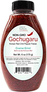 Non-GMO, Gochugaru, Kosher, Gluten Free, No additives, Korean Red Pepper Powder Flakes, Coarse Grind 6 OZ