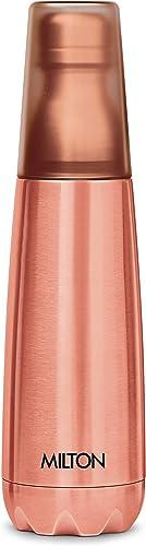 Milton Vertex 1000 Thermosteel Water Bottle with Unbreakable Tumbler 1000 ml Peach