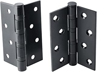 Alise 2 Pcs Door Hinge 4x3 Inch 3mm-Thick Quiet and Smooth Bearing,Square Corner Stainless Steel Matte Black