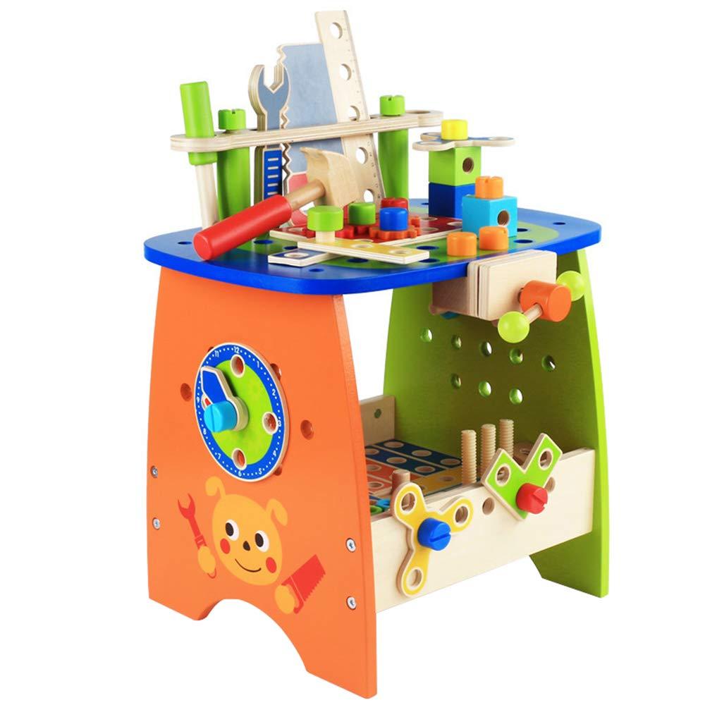 Juguetes para niños, combinación de tornillos y tuercas de madera bricolaje montaje y desmontaje de la mesa de herramientas de juguete, caja de herramientas y de montaje (niños mayores de 3 años):