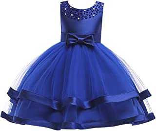 Kids Toddler Baby Girls Dresses,Sleeveless Solid Lace Bowknot Princess Party Formal Clothes 3-7 Years