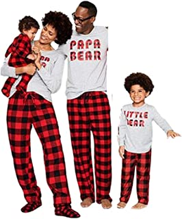 Dad Mom Baby Kids Family Matching Christmas Plaid Pajamas Set Cotton Sleepwear