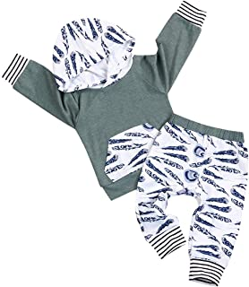 Hipealy Toddler Infant Baby Boys Fall Outfit Feather Prints Pocket Hoodie Sweatshirt +Pants Winter Clothes Set