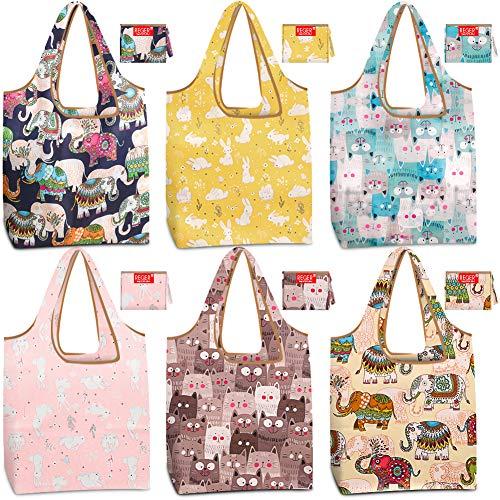 Einkaufstaschen, wiederverwendbar, faltbar, mit Tasche, groß, 22,7 kg, 6 Stück, niedliche Einkaufstaschen, Ripstop-Stoff, leicht, robust, maschinenwaschbar Muster 1 Elefant, Katzen, Kaninchen.