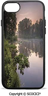 SCOCICI Non-Slip Drop Protection Smart Cell Phone Case Lake in Natura Reserve Springendal Netherlands Foggy Morning in Woods Ecology Compatible with iPhone 8 Plus