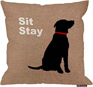 HGOD DESIGNS Funny Dog Sit Stay Words Cotton Linen Pillow Cover Pillowcase 18 X 18 Inches Square Cushion Cover for Sofa/Bed/Chair