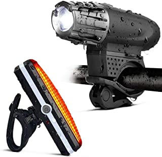Gluckluz Flashlight LED Bright Tactical Flash Light with 3-Head Torch for Cycling Hiking Riding Camping Outdoor (USB Recha...