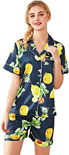 TieNew Women's Pajamas Nightgown Pineapple Short-Sleeved Shorts Two-Piece Home Service Pajama Set
