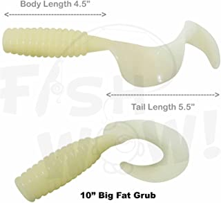 Fish WOW! 2pcs 10 with Curly Tail Extended Perch Grub Soft Lure - Glow in The Dark