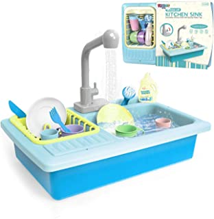 """Toy Sink with Running Water and Dishes for Kids - 16"""" Kitchen Sink Recycles Water Through Working Faucet - Playset Includes Cups, Glasses, Plates, Knife, Fork, Brush, Soap, Dish Rack for Pretend Play"""
