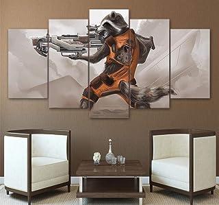 LVQIANHOME Decoración De Pared 5 Unidades Wall Pictures HD Impreso Guardianes The Galaxy Rocket Raccoon Canvas Poster Impresiones Pintura Sala De Estar-Sin Marco