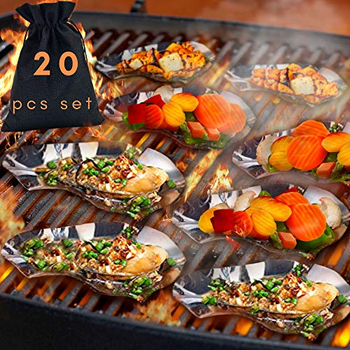 20 Pcs Set Oyster Shells Stainless Steel Reusable - large Oyster Grilling Pan - Metal Oyster Baking Dish - Great for Seafood of all Kind