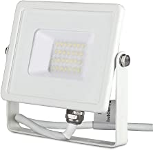 V-TAC 20W Waterproof Outdoor Security Floodlight with Samsung LED Body Glass IP65 3000K Warm White 1600 lumens, Die Cast A...
