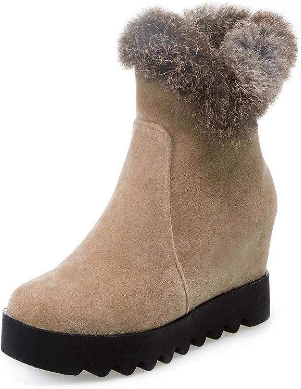 Lucksender Womens Manmade Short Plush Round Toe Side Zip Platform Short Boots