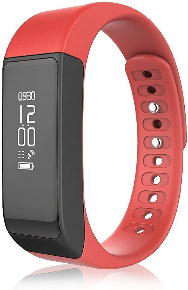 Yuntab I5 Plus Smartband, Sleep Detect/Fitness Tracker/Call Notifiction, Waterproof, OLED Display, Compatible IOS7.0 & Android 4.9 Above Version (Red)