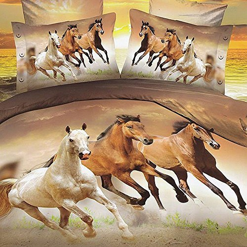 Ammybeddings Full Size Duvet Cover Sets,Luxury Brown Galloping Horse Print Bedding,1 Bed Sheet,1 Quilt/Duvet Cover Full and 2 Pillow Shams,4 Piece Soft 3D Bedding Sets King/Queen/Twin