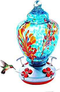 RORA Hummingbird Feeder for Outdoors- Hand Blown Glass - Large 36 Ounces Colourful Hummingbird Including Hanging Wires,Hem...