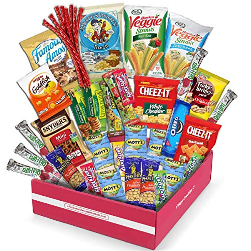 Holiday Snack Box Variety Pack, (40 Count) Christmas Candy Gift Basket - College Student Care Package, Thanksgiving, Xmas Food Arrangement Chips, Cookies, Bars - Birthday Treats for Adults, Kids,
