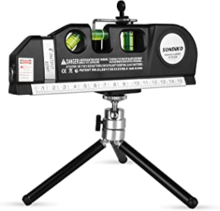 Sondiko Laser Level Multifunction Laser Level Measuring Tape Standard and Metric Tape Ruler (8ft/2.5M) with Retractable Metal Tripod Stand&Clamp