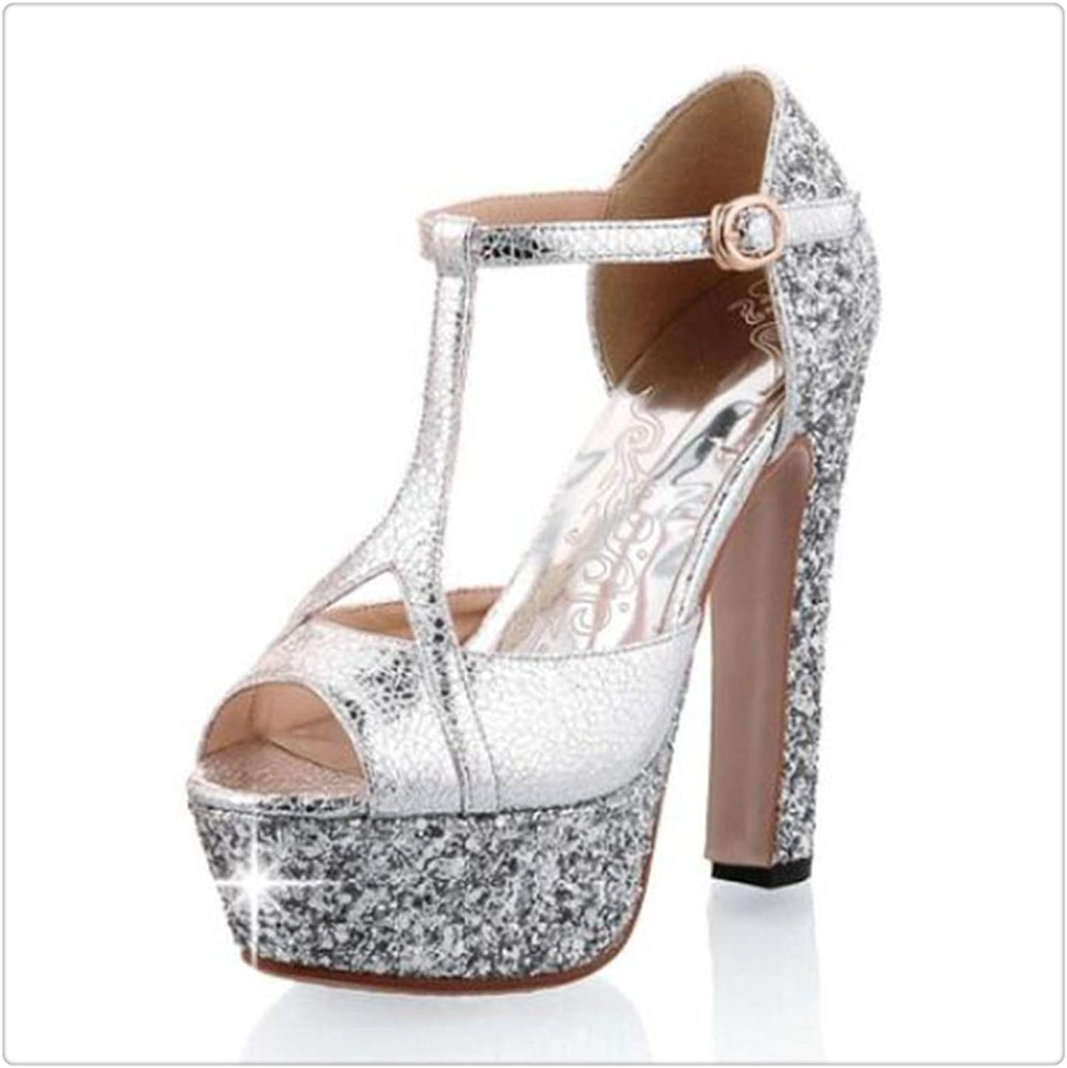 Yyixianma Office Lady High Heel Sandals Shine Glitter Platform Summer shoes Ankle Strap Spike Heel Sandals Women shoes Size 31-43 Silver 10