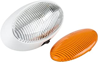 Lumitronics RV 12V Oval Porch Utility Light with On/Off Switch - Clear & Amber Lense (White)
