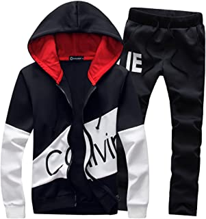 16687ed00ae Musnow Mens Tracksuits Print Hoodies Sweatsuits Sports Suits Workout Gym  Jogging Suits Hooded
