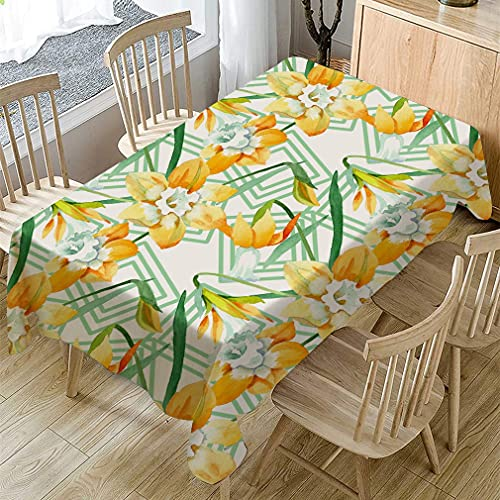 XXDD Yellow Flower Geometric Background Tablecloth Cotton Linen Rectangle Cover Dining Wedding Dust-Proof Table Cloth A4 140x140cm