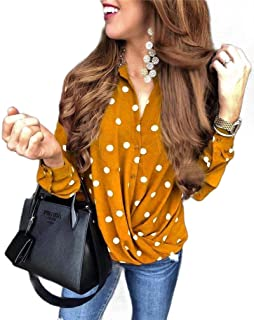 Howely Women Polka Dot Button Down Loose Casual Long Sleeve Blouse Top
