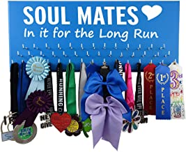 RunningontheWall Valentines Day Runners Medal Holder and Bib Hanger Valentines Gift for Running Lovers, Running Shoes Lover Sole Mates Heart, in it for The Long Run Medal Rack Only Design