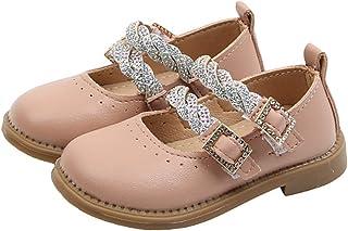 Zapatos de Cuero para niños cómodos Antideslizantes de Color sólido con Punta Redonda Diamantes de imitación Zapatos de Pr...