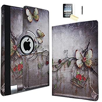 JYtrend iPad Mini Case  R  Rotating Stand Smart Case Cover Magnetic Auto Wake Up/Sleep for iPad Mini 1/Mini 2/Mini 3 A1432 A1454 A1455 A1489 A1490 A1491 A1599 A1600 A1601  Butterfly