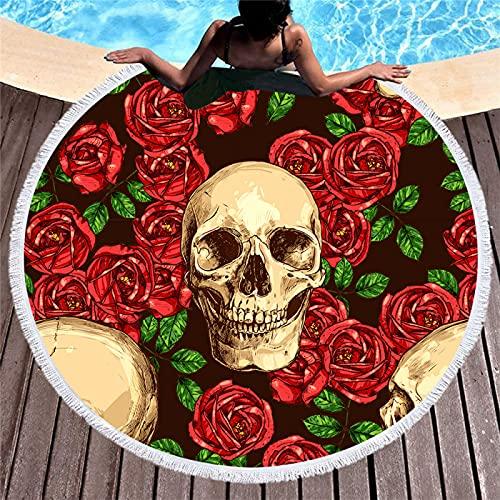 Serie De Estampado Floral Toallas De Playa Redondas, Toallas De Microfibra, Esterillas De Playa Absorbentes De Secado Rápido, Mantas De Playa con Flecos 150 * 150cm