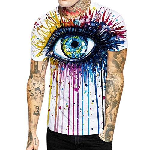 LAEMILIA Herren 3D Print T Shirt Augen Aufdruck Kurzarm Tops Sommer leicht bequem Hemd Unisex cool Digital Schmale Passform