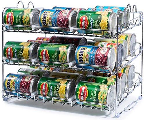 Stackable Can Rack Organizer, Storage for 36 cans - Great for the Pantry Shelf, Kitchen Cabinet or Counter-top. Stack Another Set on Top to Double Your Storage Capacity. (Chrome Finish)