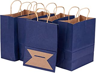 BENECREAT 30 Pack Dark Blue Kraft Paper Bags with Twisted Handles(8.25x4.35x10.5), Shopping/Party Favor/Gift Bags for Birthday Wedding Parties, Holidays and Other Occasions