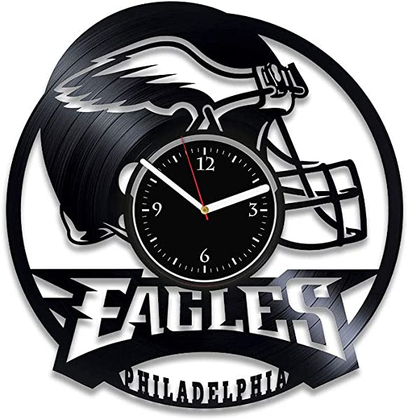 Clock Philadelphia Eagles Vinyl Record Clock American Football Wall Art Xmas For Man Eagles Decor Football Team Wall Clock Vintage Philadelphia Eagles Vinyl Art Handmade Clock 12 Inch Birthday