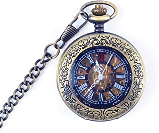 Watch Clamshell Retro Mechanical Pocket Watch Men's and Women's Hollowed Out Commemorative Pocket Watch, Fashion Watch (Color : Blue, Size : 4.7x1.5cm)