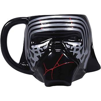 Amazon Com Star Wars Mug Rise Of Skywalker Kylo Ren Helmet Shaped Novelty Official Black Kitchen Dining