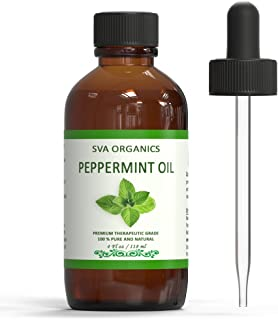 SVA Organics 100% Natural Peppermint Essential Oil –Therapeutic Grade Aromatic Oil, 4 Fl Oz with Dropper | Natural Aromatherapy Oils