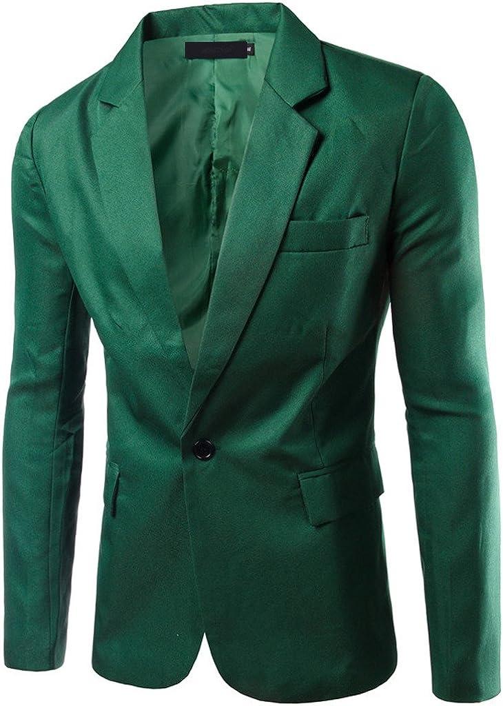 Porlox Men's Casual Peaked Lapel Slim Fit 1 Button Suit Blazer