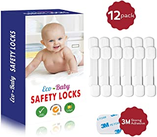 Child Safety Strap Locks (12 Pack) for Fridge, Cabinets, Drawers, Dishwasher, Toilet, 3M Adhesive No Drilling - by Eco-Baby