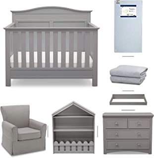 Serta Barrett 7-Piece Nursery Furniture Set - Convertible Crib, Dresser, Changing Top, Bookcase, Crib Mattress, Glider, Crib Sheets - Grey