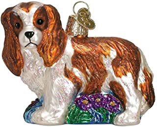 Old World Christmas Glass Blown King Charles Spaniel WH/BR Ornament