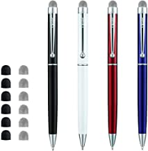 CHAOQ Stylus Pens, (4 Pcs, Black, White, Red, Blue) Hybrid Mesh Fiber Tip Stylus Pen and Ballpoint Pens for All Capacitive Touch Screen Cell Phones, iPad, Tablet with 6 Mesh Tip, 6 Rubber Tip