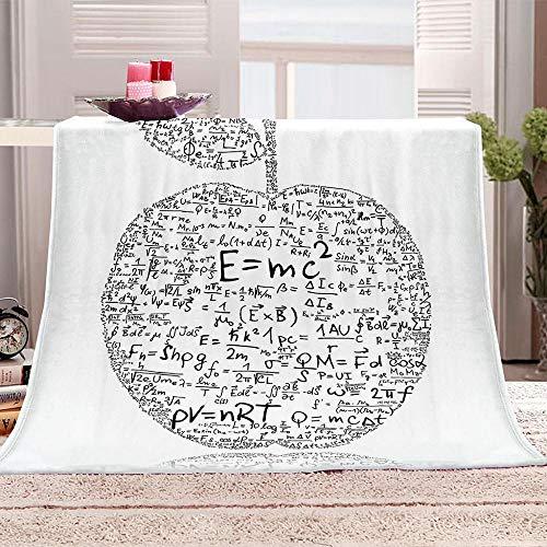 ZZFJFQ Kuscheldecke Mathematik & Apple Decke Flauschige Extra Weich Warm Wohndecke Flanell Fleecedecke Kuschelige Sofadecke Flanelldecke Bettüberwurf Fleece Decke für Adult 130x150cm