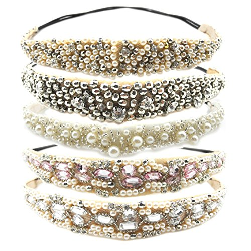 Inspirelle 5 Pack Acylic Beaded Elastic Headband, Fashionable Handmade Crystal Beaded Elastic Hairbands Lady Women Girls Imitation Pearl Hair Jewelry Accessories